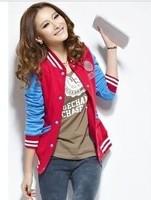East Knitting WE106 Sweatshirt Women Korea Style Fashion Color Matching Baseball Hoodies Short Fleeces Cardigans 4 Colors