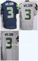 Hot Sell #3 Russell Wilson White/Blue/Grey Jersey Name Number All STITCHED (sewn on) 2013