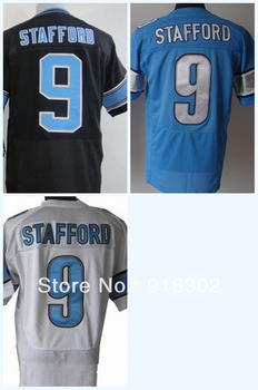 Hot Sell #9 Matthew Stafford White/Black/Blue Jersey Name Number All STITCHED (sewn on) 2013