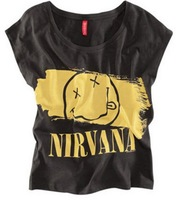new women t- shirt Nirvana Smiley letters printed black T-shirt szie: XS-XXL  Free Shipping