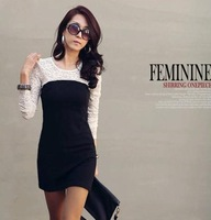 2013 fashion women Ladies' sexy Slim Crew Neck cotton Bodycon Club casual Long Sleeves Lace Mini Dress autumn winter big size