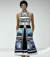 2013 summer London Fashion Week runway bohemia stamps STRIKING GEOMETRIC LINES print halter-neck one-piece dress FREE SHIP