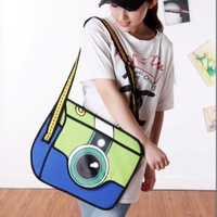 Promotion bags Free shipping, 2013 New camera design women's handbag Cartoons bag 2d bag Canvas shoulder bag 3D messenger bag