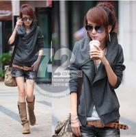 Drop Shipping 2014 Autumn New Hoodies Women's Fashion Inclined Zipper Cardigans Short Sweatershirts WE034
