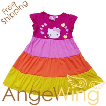 wholesale 2012 dress baby girls/kids branded new Hello Kitty flutter sleeve Summer dresses free shipping