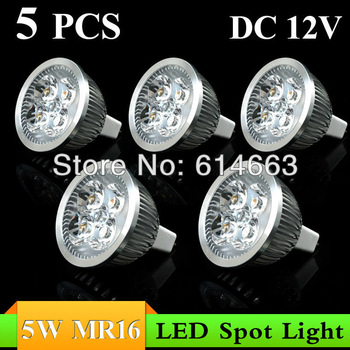 5PCS 5W MR16 DC12V white/warm white LED Downlight LED Bulb Light Spot Light Candle Light Retail and Wholesale  Free Shipping