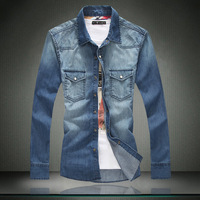 drop shipment , 100% cotton men's denim shirt long sleeved washing shirt plus size men's clothing  9387p85
