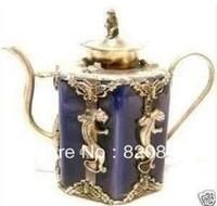 exquisite tibet silver purple porcelain engraving gecko monkey statue teapot