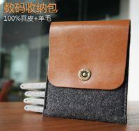 Pure wool d-park genuine leather multifunctional digital bag digital storage bag mobile power hard drive bag