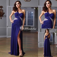 2013 New Arrival sheath ball gown prom dresses one shoulder crystal blue chiffon Evening Dresses Women Under 100