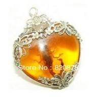 Beautiful Tibet silver amber scorpion necklace pendant