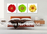 Frame 3 Piece Free Shipping Wall Painting Modern Red Green Yellow flowers Home Decorative Oil Painting  Printed On Canvas