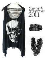 2013 new women T shirts Skull Punk Singlet Dress Vintage Tank Pop Sexy Top long Tee T-Shirt Free shipping
