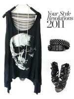 2013 new women T shirts Skull Punk Singlet Vintage Tank Pop Sexy Top long Tee T-Shirt Free shipping