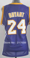 Free shipping New Cheap Basketball Jerseys L.A. # 24 Purple Sports Basketball Jersey Embroidered Logo Size S-XXL