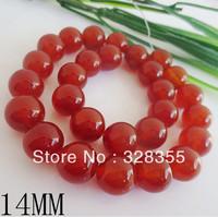 DIY Fashion Jewelry Making Semi Precious Stone 14MM Natural Round Agate Loose Bead 28pcs Per String Free Shipping