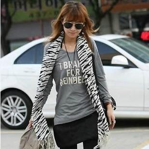 Free Shipping Wholesale Scarf acrylic  Shawl Best Selling Women Fashion Scarf Zebra Print Long Muffler acrylic Touch Scarf