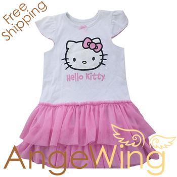 wholesale 2012 dress Hello Kitty kids clothing girls flutter sleeve tutu pettiskirt Summer dress cute dresses free shipping