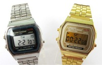 Metallic The WATCH Gold And Silver Color Light F-91W Ultra-Thin Electronic Watch 159 Watch