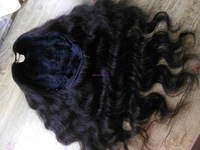 Free Shipping Jet Black Body Wave 100% Real Human Hair U Part Wig