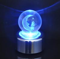 Creative Christmas gift Forever Love Moon Angel Colorful LED crystal ball rotating music box free shipping