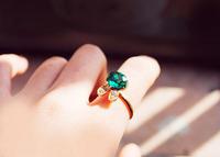 Newest cheap Sea Blue gem Japan and south Korea style rabbit semi-precious stone finger rings,free shipping