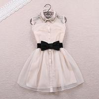 2015 spring pearl rhinestone small lapel gauze high waist one-piece dress puff skirt