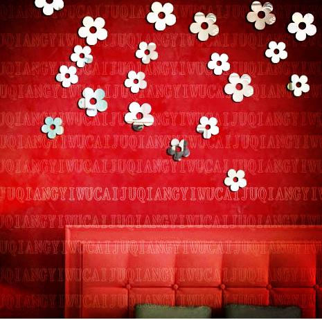 10pcs Wall mirror crystal three-dimensional romantic taohuajiangriver rattan sofa background wall stickers ofhead p005(China (Mainland))