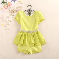 2013 summer ladies princess wind short-sleeve skirt top shorts twinset female