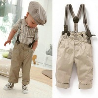 Boys 2PCS Top+Bib Pants Outfit Baby Clothes Toddler Gentleman Overalls Set 0-5Y Free shipping & Drop shipping XL044