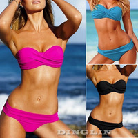Sexy Women Halter Twist Padded Swimwear Top&Bottom Bra Bikini Bathing Suit Swimsuit Tankini S M L 4 Color Free Shipping New 5313
