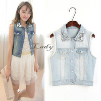 Drop shipping 3pcs/lot Wholesale 2013 New Women's Vintage Nail bead Decoration Jean Vest Sleeveless Jacket Coat 16548
