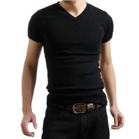 woven cotton men's t shirt V Neck Summer hot-selling Free Shipping M4004