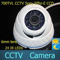 700TV Lines Sony CCD Effio Waterproof  IR 6mm lens  Indoor Camera 24IR blue leds CCTV Surveillance Dome Camera
