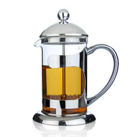 Freeshipping hot sale top quality tea set double material stainless steel and glass teapot with elegance gift package box