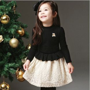 2013 New Arrival children girls long sleeve princess dress lace patchwork spring autumn wear 1pc retail free shipping