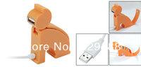 Orange Plastic Cat 4 Ports USB 2.0 Hub for PC Laptop