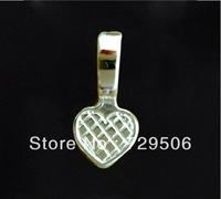 Silver Plated Glue on Bail Cabochon Settings Heart Charm Pendant 21x10mm