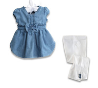 Retail 1pcs free shipping 2013 Baby clothing girls suits  jeans short sleeve shirt + white bow pants 2-6yrs in stock