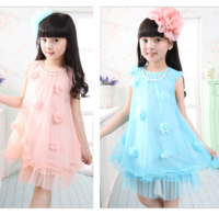 Female child summer one-piece dress 2013 three-dimensional flower chiffon lace princess dress beach dress plus size