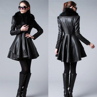 Pu leather fashion, cultivate one's morality in the lady's long quilted jacket 6 sizesFree shipping