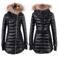 SALE 2012 raccoon fur hat sheepskin Women with a hood lace long design genuine leather down coat