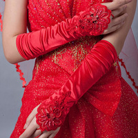 Red bride dress gloves fingerless embroidered wedding dress satin gloves