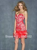 2014 Fashion Sweetheart Short Sheath Lace Bodice Feather Dresses