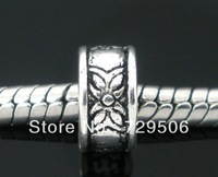 Silver Tone Flower Ring Big Hole Spacer Beads Fit European Charm Bracelet 8mm