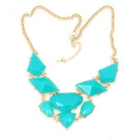 2013 New Arrival Gold Plated Elegant Zinc Alloy Bohemian Turquoise Resin Bubble Statement Necklace,High Quality,Free Shipping