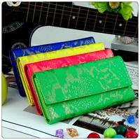 Fashion fashion 2013 women's day clutch personalized neon color wallet serpentine pattern wallet women's long design wallet