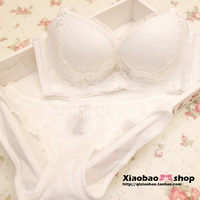 free shipping Sexy lace white adjustable furu 4 breasted collect the young girl bra set women's underwear