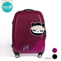 Lulu black purple bear 2024 8 aircraft wheel trolley luggage travel bag