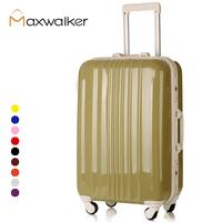 Maxwalker trolley luggage abs pc travel luggage bag luggage bag hard case universal wheels aluminum frame